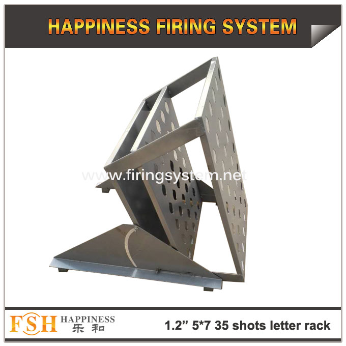 New product 1.2inch (hole diameter 42mm) 7*7(49) shots Single shots fireworks pyrotechnic letter display racks