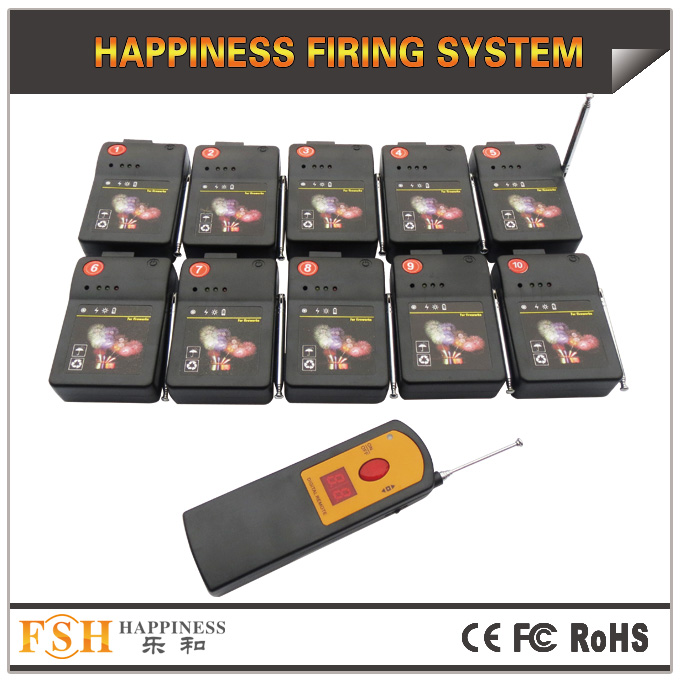 10 cues fireworks firing system,digital remote,adjust sequential time,fire all ,step fire for talon and ematch