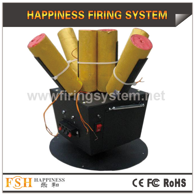 Rotating firing system for stage fireworks, one remote with 4 receivers,battery for power