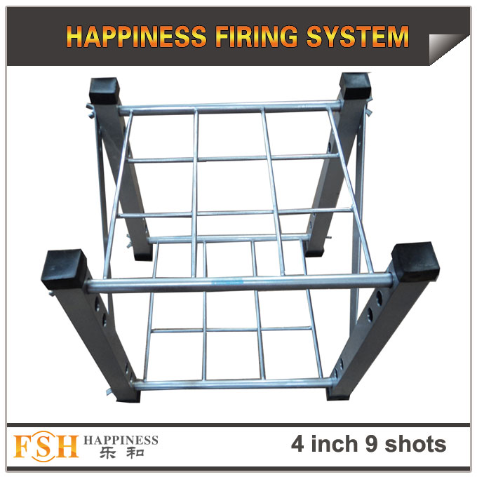 4 inch 9 shots square hole rack made by Iron and AL for fireworks display , mortar tubes rack