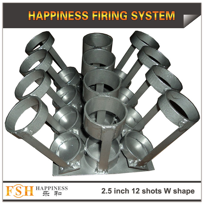 2.5 inch 12 shots W shape Iron rack for fireworks display , mortar tubes rack