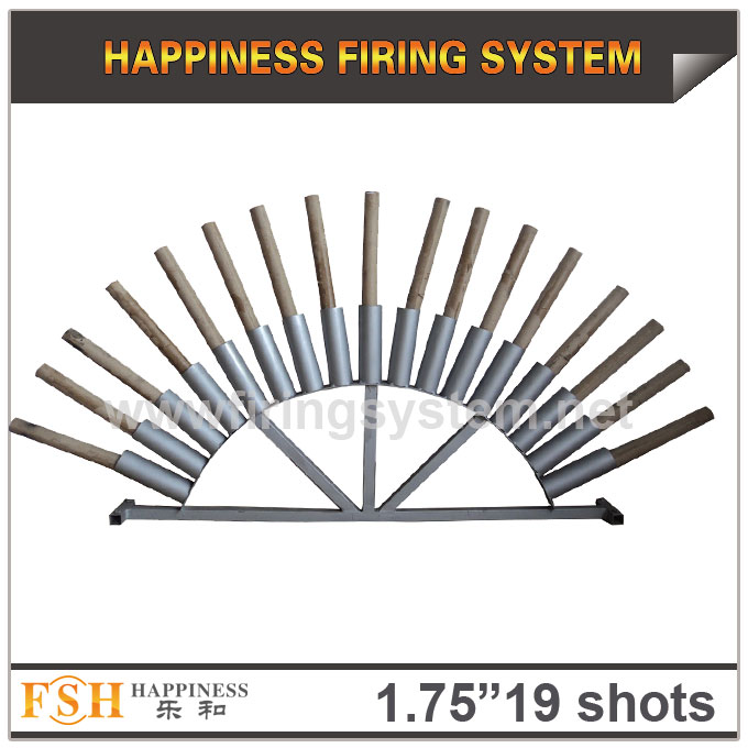 1.75 inch 19 shots fan shape AL racks for roman candles