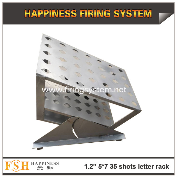 New product 1.2inch (hole diameter 42mm) 5*7(35) shots Single shots fireworks pyrotechnic letter display racks